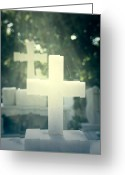 Grave Greeting Cards - Marble Crosses Greeting Card by Joana Kruse