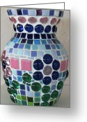 Glass Ceramics Greeting Cards - Marble Vase Greeting Card by Jamie Frier