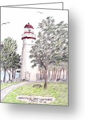 Historic Lighthouse Drawings Greeting Cards - Marblehead Ohio Lighthouse  Greeting Card by Frederic Kohli