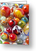 Toys Greeting Cards - Marbles close up Greeting Card by Garry Gay