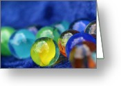 Yellow Glass Art Greeting Cards - Marbles Greeting Card by Dagmar Ceki