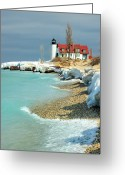 "Glacier Greeting Cards - ""march Thaw""  Point Betsie Lighthouse Greeting Card by John McCormick"