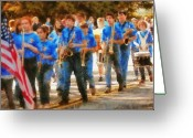 Kids Greeting Cards - Marching Band - Junior Marching Band  Greeting Card by Mike Savad