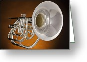 Trumpet Music Greeting Cards - Marching French Horn On Orange Greeting Card by M K  Miller