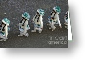 Birds Eye Greeting Cards - Marching in a row - German Carnival procession Greeting Card by Matthias Hauser
