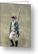 Frontier Art Greeting Cards - Marching Loyalist Soldier Revolutionary War Greeting Card by Randy Steele