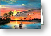 Location Art Greeting Cards - Marco Island Study Greeting Card by Riley Geddings
