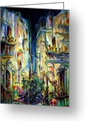 New York City Painting Greeting Cards - Mardi Gras Greeting Card by Heather Calderon