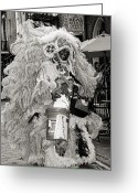Donations Greeting Cards - Mardi Gras Indian in Pirates Alley in black and white Greeting Card by Kathleen K Parker