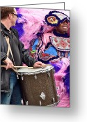 Portraits Photo Greeting Cards - Mardi Gras Indian Greeting Card by Kathleen K Parker