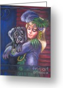Animal Portrait Pastels Greeting Cards - Mardi Gras Puppy Greeting Card by Beverly Boulet