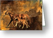 Terry Digital Art Greeting Cards - Mare and baby Greeting Card by Terry Sita