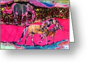 Meadow Tapestries - Textiles Greeting Cards - Mare and Foal Greeting Card by Carol Law Conklin