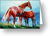 Equine Watercolor Portrait Greeting Cards - Mare With Foal Greeting Card by Hanne Lore Koehler