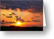 Sunset Photography Greeting Cards - Marfa Windmill 2 Greeting Card by Skip Hunt