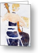 South Seas Greeting Cards - Margarethe On Cello Greeting Card by Pat Katz