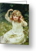 Morgan Greeting Cards - Marguerites Greeting Card by Frederick Morgan
