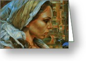 Turban Greeting Cards - Maria Greeting Card by Arthur Braginsky