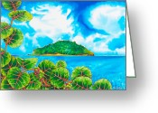 Caribbean Sea Tapestries - Textiles Greeting Cards - Maria ISLAND - SAINT LUCIA Greeting Card by Daniel Jean-baptiste