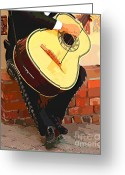 Street Musicians Greeting Cards - Mariachi Guitarron  Greeting Card by Cheryl Young