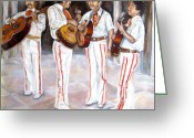 Charro Greeting Cards - Mariachi  Musicians Greeting Card by Carole Spandau