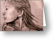 Tribal Drawings Greeting Cards - Mariah Pencil Study Greeting Card by Susan Bergstrom