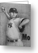 Yankee Stadium Drawings Greeting Cards - Mariano Rivera AKA Mr AUTOMATIC Greeting Card by Dan Haraga