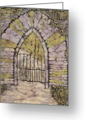 Fine Art Batik Tapestries - Textiles Greeting Cards - Marias Gate Batik Greeting Card by Kristine Allphin