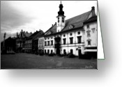 Mitic Greeting Cards - Maribor Square Black and White Greeting Card by Marko Mitic
