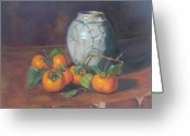 Persimmons Greeting Cards - Maries Persimmons  Greeting Card by Gloria Smith