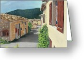 Stone Pastels Greeting Cards - Marignac-en-Diois Greeting Card by Anastasiya Malakhova