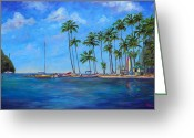 Virgin Islands Painting Greeting Cards - Marigot Bay St. Lucia Greeting Card by Jeff Pittman