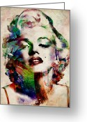 Watercolor Greeting Cards - Marilyn Greeting Card by Michael Tompsett