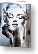 Black White Greeting Cards - Marilyn Monroe Greeting Card by Fatima Azimova