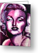 1950s Portraits Greeting Cards - Marilyn Monroe Greeting Card by Hannah Chusid