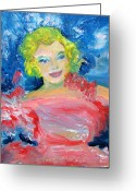 Starlet Greeting Cards - Marilyn Monroe In Pink And Blue Greeting Card by Patricia Taylor