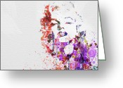 Watercolor Painting Greeting Cards - Marilyn Monroe Greeting Card by Irina  March