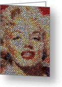 Starlet Greeting Cards - Marilyn Monroe Skull Mosaic Greeting Card by Paul Van Scott