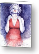 Stars Painting Greeting Cards - Marilyn Monroe Greeting Card by Yuriy  Shevchuk
