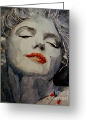 Face Greeting Cards - Marilyn no8 Greeting Card by Paul Lovering