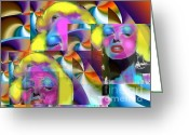 Diana Riukas Greeting Cards - Marilyn POP Trio Greeting Card by Diana Riukas