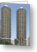 Spiral Greeting Cards - Marina City Chicago - Life in a Corn Cob Greeting Card by Christine Till