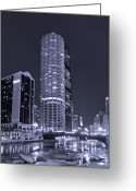 Midwest Greeting Cards - Marina City on the Chicago River in B and W Greeting Card by Steve Gadomski