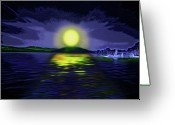 Moonrise Digital Art Greeting Cards - Marina Moonrise Greeting Card by Steve Ohlsen