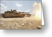Battle Tanks Greeting Cards - Marines Bombard Through A Live Fire Greeting Card by Stocktrek Images