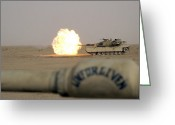 Battle Tanks Greeting Cards - Marines Fire Their M1a1 Abrams Tank Greeting Card by Stocktrek Images