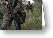 Battleground Greeting Cards - Marines Patrol The Central Training Greeting Card by Stocktrek Images