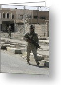 Iraq Greeting Cards - Marines Patrol The Streets To Better Greeting Card by Stocktrek Images