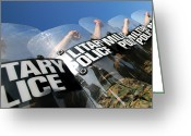 Military Police Greeting Cards - Marines Practice Riot Control Greeting Card by Stocktrek Images