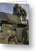 Antenna Greeting Cards - Marines Prepare The Antenna Of An Greeting Card by Stocktrek Images